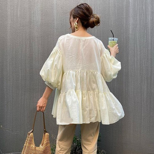 New style Loose casual cotton and linen shirt slimming short-sleeved mid-length slim shirt top