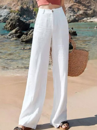 Summer Women  High Waist thin cotton linen Wide Leg  Casual Pants