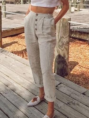 Women Spring Casual Button High Waist Trousers Women Long Pants