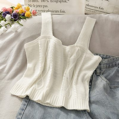 Women Knitted Ladies Floral Embroidery Knitted Short Vest