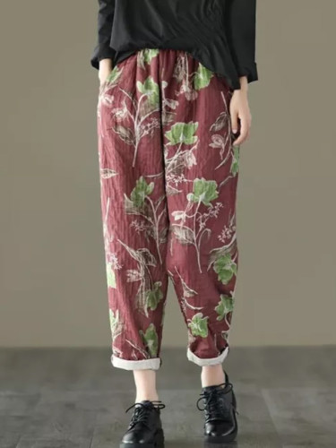 Spring Autumn Women Elastic Waist Cotton Linen Vintage Print Loose Casual Pants