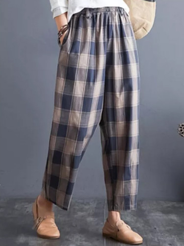 Spring Autumn Women Vintage Loose Pants Cotton Linen Plaid Casual  Casual Pants