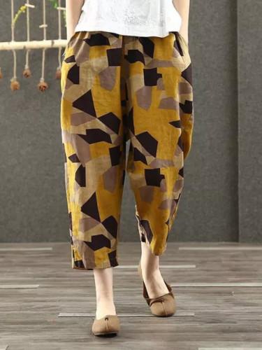 Spring Summer Women Cotton Linen Vintage print Loose Wide Leg Pants