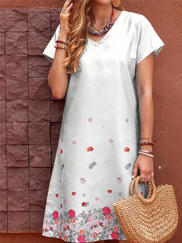 Women V-Neck Short Sleeve A-Line Dress Floral Print Knee-Length Summer Casual Dresses