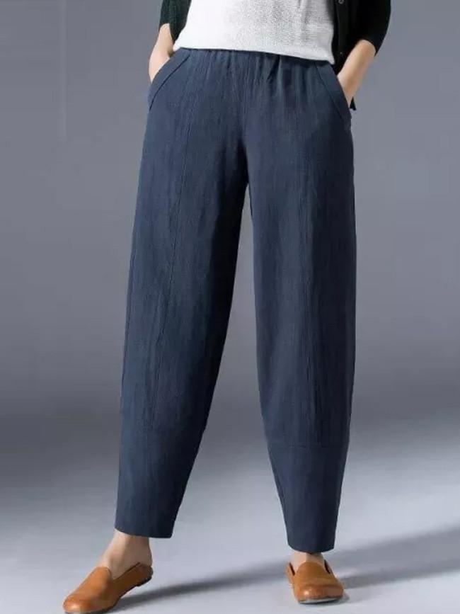 Spring Summer Women Loose Casual Harem Elastic Waist Pocket Cotton Linen Vintage Pants