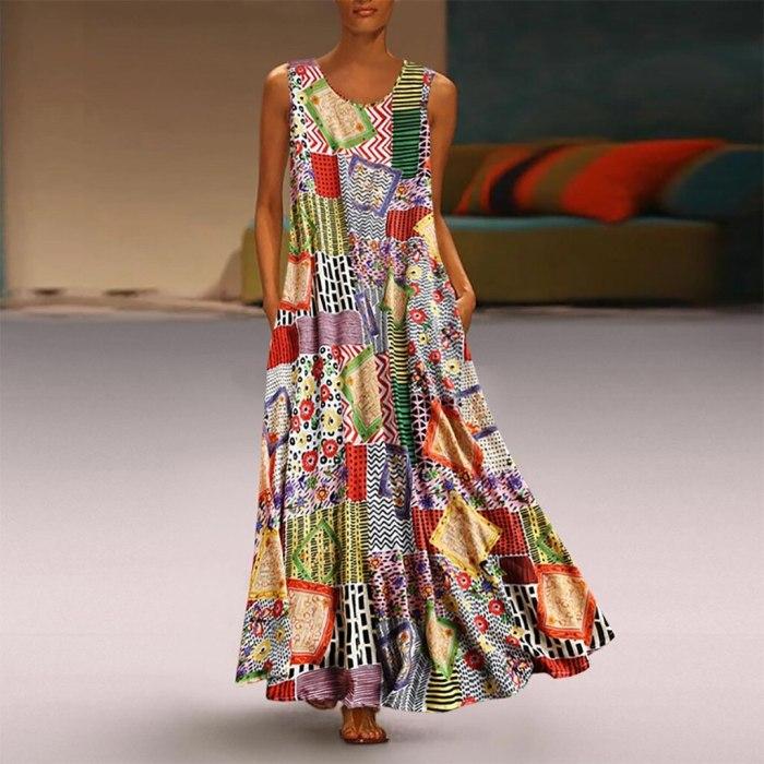 Printing Casual Sleeveless O Neck Women's Printed Sleeveless Casual Maxi Dress
