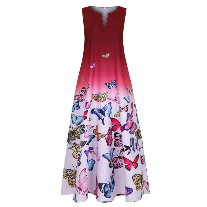 Women Butterfly Print Sleeveless Vintage Boho V Neck Maxi Dress Summer