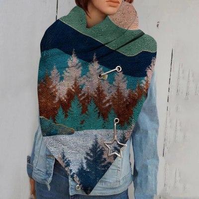 Fashion Winter Scarf Women Print Bandana Button Soft Wrap Casual Warm Scarves Shawls