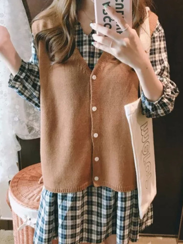Sweater Spring Autumn Women's Knitted Vest V neck Joker Wool Vest