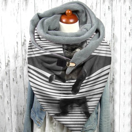 Fashion Winter Scarf Women Printing Comfortable Button Casual Warm Scarves