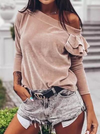 Women Tops Velvet Ruffle Long Sleeve Ladies Shirt