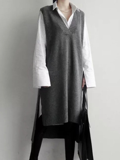 Spring Autumn Women Vest Sweaters Knitting long Vests Joker Wool Pullover
