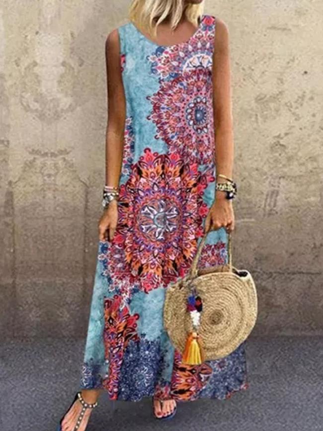 Women's National Style Digital Printing Round Neck Sleeveless Summer Maxi Dresses