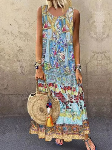 Summer Women O-Neck Printed Sleeveless Casual Maxi Dress