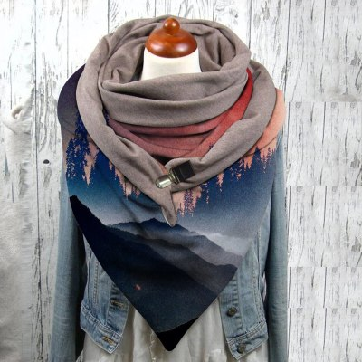 Universal  Chinese Style Mountain Ink Painting Print Windproof  Warm Scarf