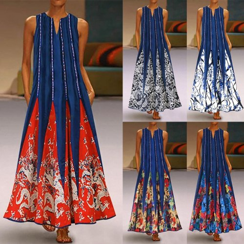 Women Plus Size New  Vintage Summer V Neck Maxi Dress