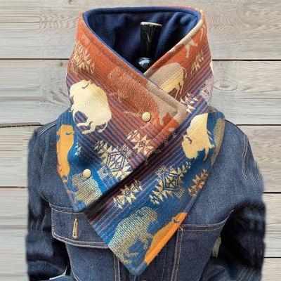 Women Retro Totem Geometric Printing Fashion Casual Scarf