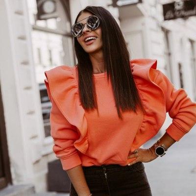 Thicken Long Sleeve Elegant Women Blouses Ruffles O-Neck Shirts Tops