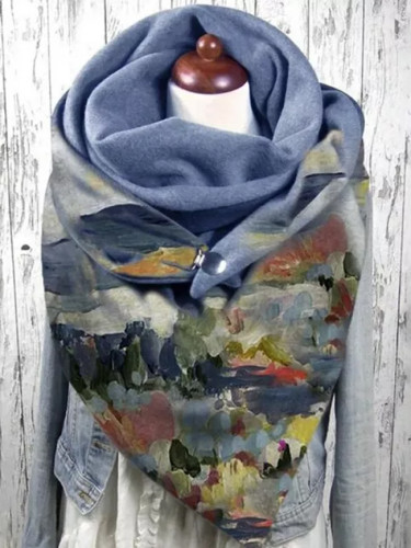 Women Scarve Fashion Printing Button Casual Warm Scarf