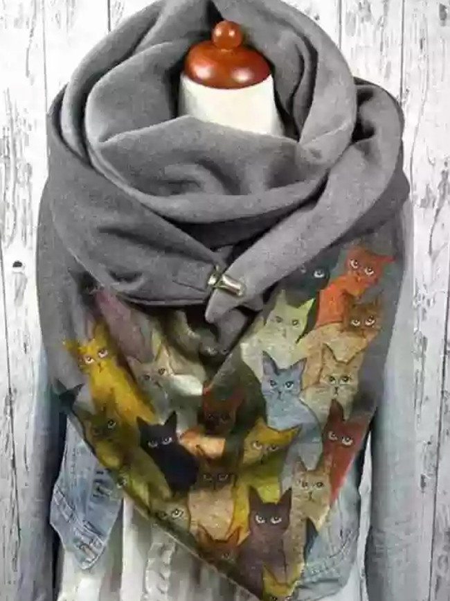 Fashion Casual Christmas Printing Thickening Scarf Cat Button Warm Shawl