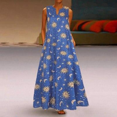 Summer Bohemian Vintage Sleeveless Women Maxi Long Dress Casual Dress
