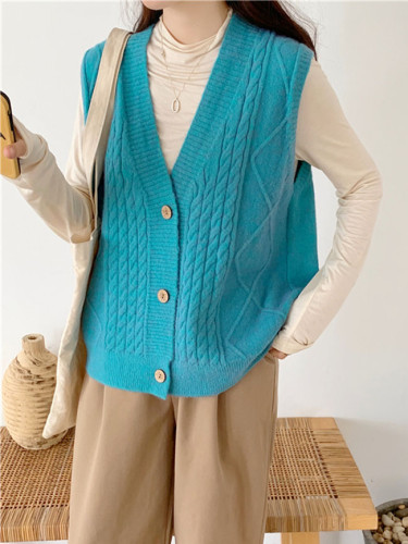 V neck joker knitted vest womens winter outerwear