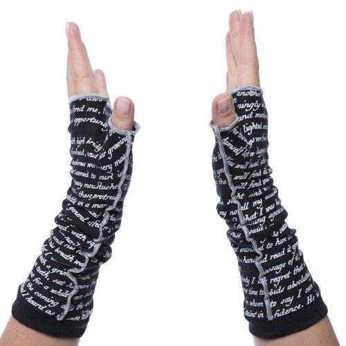 Fashion Women Letter Print Fingerless Mitts Female Long Gloves