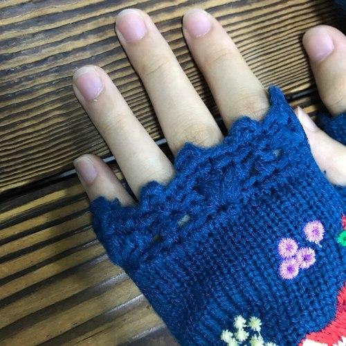 Fashion Women's Mid Long Half Finger Warm Wool Winter Gloves