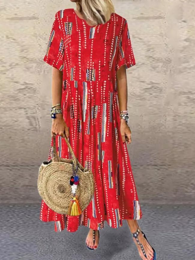 Women's Printed V-neck Pocket Short Sleeve Dress Summer Maxi Dress