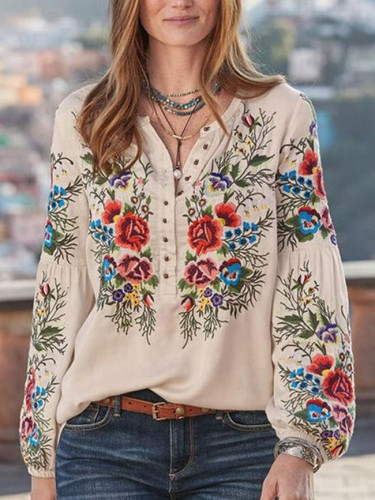 Bohemian Spring Shirts Casual Long Sleeve Floral Tops
