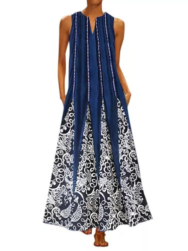 Women Plus Size New  Vintage Summer V Neck Maxi Dress