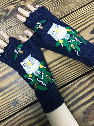 Women's Knitted Mid Long Half Finger Warm Wool Winter Gloves
