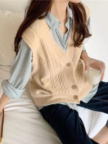 V neck joker knitted vest womens winter outerwear