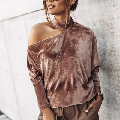 Sexy Off Shoulder Hang Neck Blouse Shirt Batwing Long Sleeve Pullovers Velvet Solid Tops