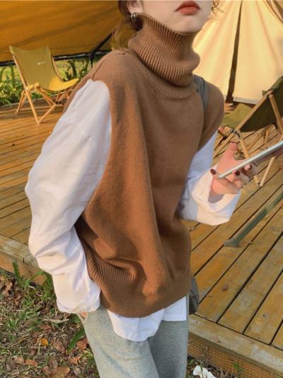 Autumn Winter Women Sweaters Turtleneck Vest Cutout Sleeveless