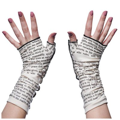 Fashion Women Letter Print Fingerless Mitts Female Long Gloves