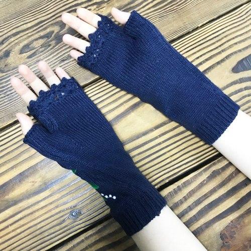 Women's Knitted Mid Long Half Finger Warm Wool Winter Gloves