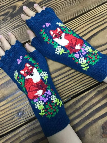 Fashion Women's Mid Long Half Finger Warm Wool Winter Gloves