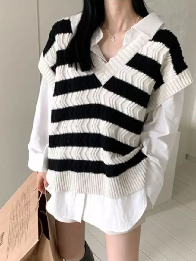 Spring Autumn Women Sweaters Wool Knitting Vest Joker