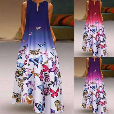 Women Butterfly Print Sleeveless Vintage Boho V Neck Maxi Dress Summer