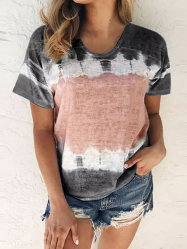 Women Summer O-Neck Sexy Gradient Print Regular Women Short Seleves Top