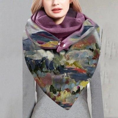 Women Scarve Fashion Printing Button Casual Warm Scarf