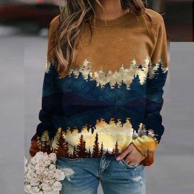 Cartoon Printed Long Sleeves O Neck Sweatshirt Casual Loose Autumn Blouse