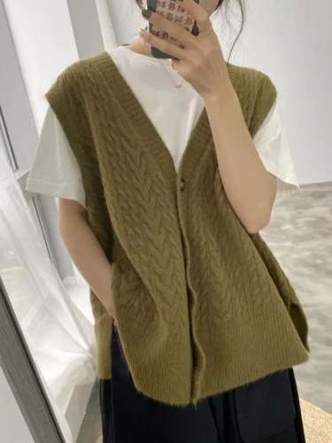 Autumn Women vest sweaters knitting vest joker knitted wool sweater