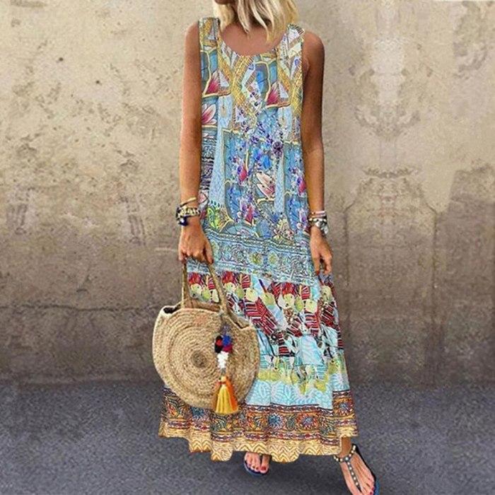 Summer Women O-Neck Printed Sleeveless Casual Maxi Dress