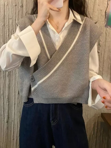 Loose Sleeveless Sweater Spring Autumn Sweaters Knitting Vest Joker