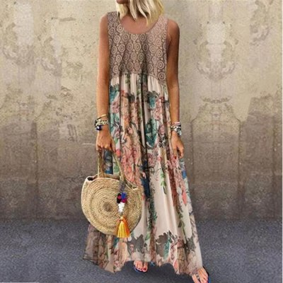 Sleeveless Floral Print Summer Women O-Neck Vintage Long Dress