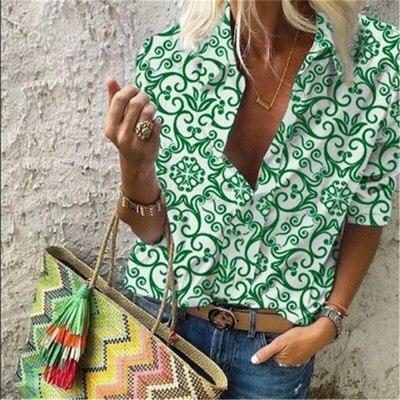 Women Pullover Shirts Printed Lapel Loose Top Long-sleeve Shirt