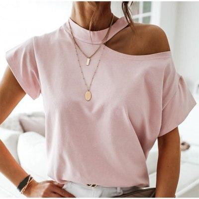 Woman Casual Short Sleeve off Shoulder T Shirt