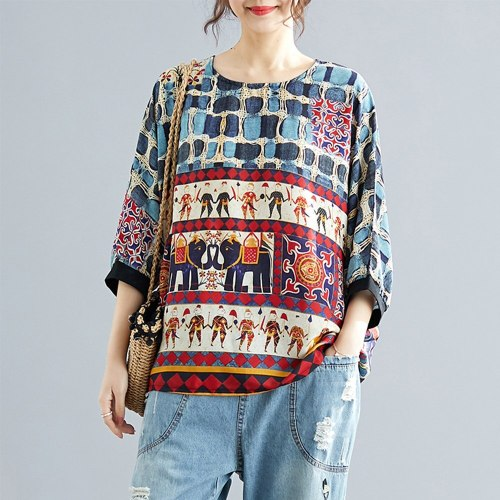 Women Short Sleeve T Shirt Color Block Printed Loose Round Collar Tee Tunic